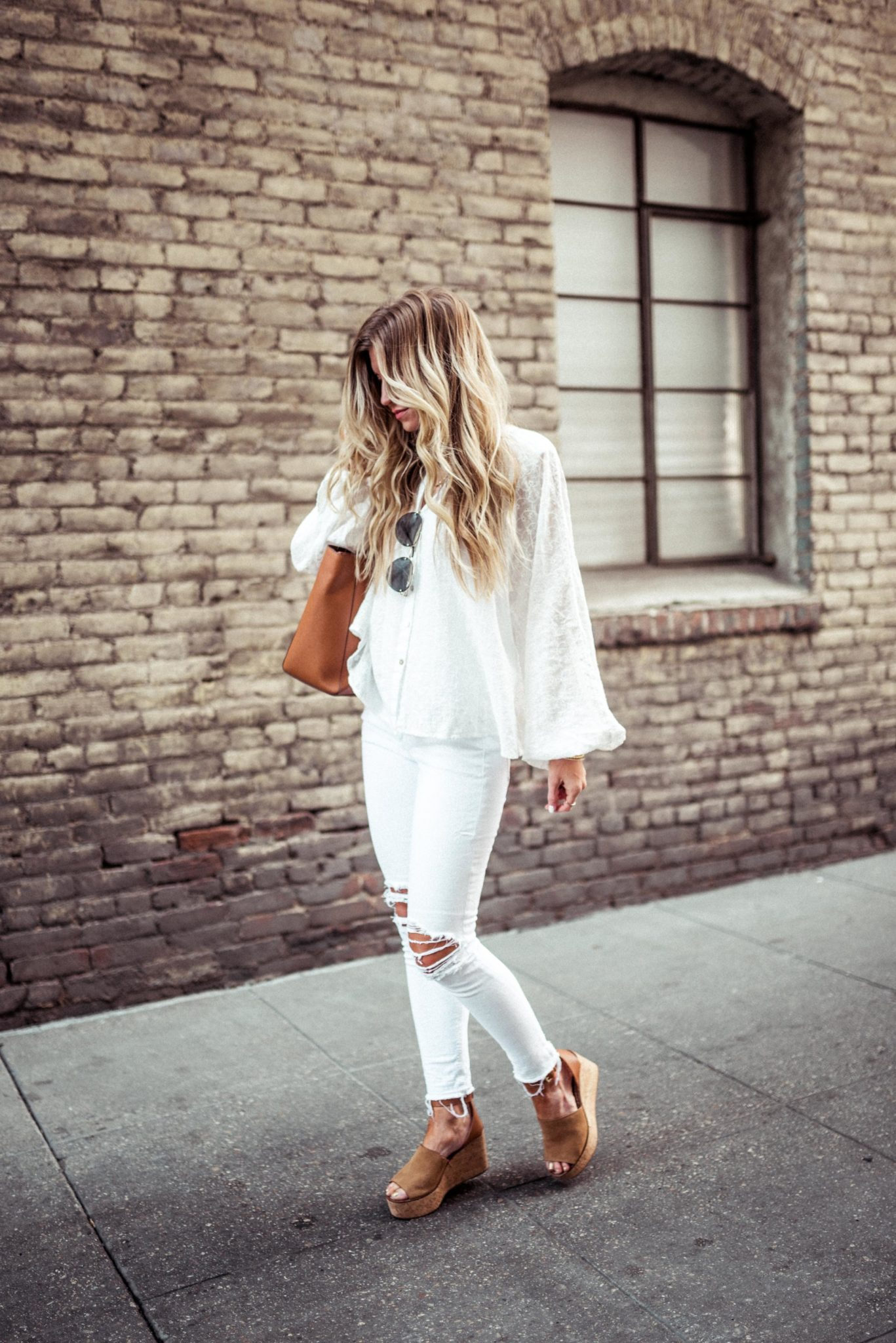 White flowy top + white pants for spring