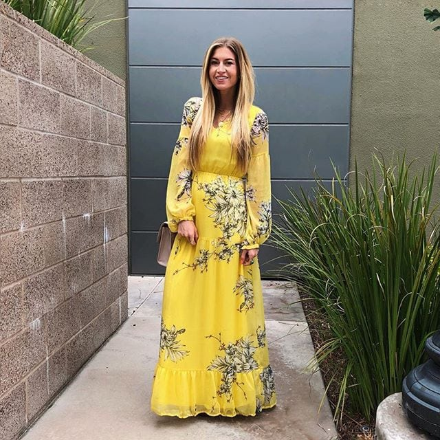 YELLOW FLORAL MAXI DRESS || STUDDED SANDALS (BEADED SANDALS) || TORY BURCH BAG ||PENDANT NECKLACE || LAYERED NECKLACE