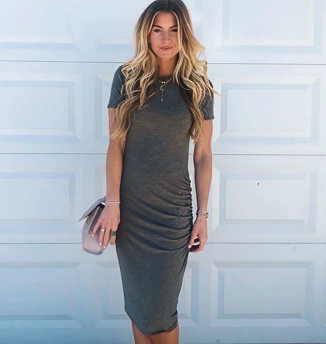 GREY BODY-CON DRESS ||BEADED LEATHER SANDALS || TORY BURCH BAG || MOON AND STAR NECKLACE || GOLD CHOKER || Y-CHAIN NECKLACE