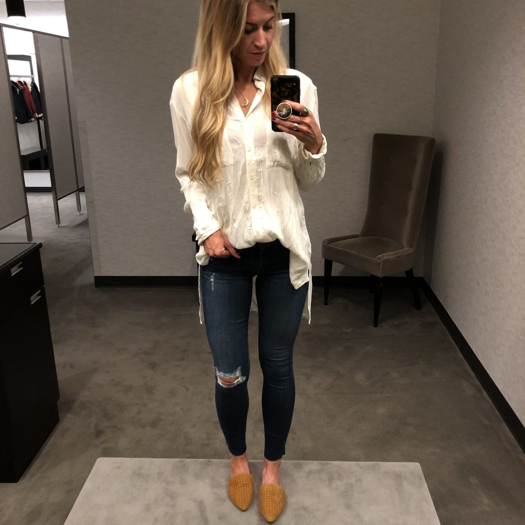 Nordstrom Anniversary Sale Outfits: White blouse and jeans