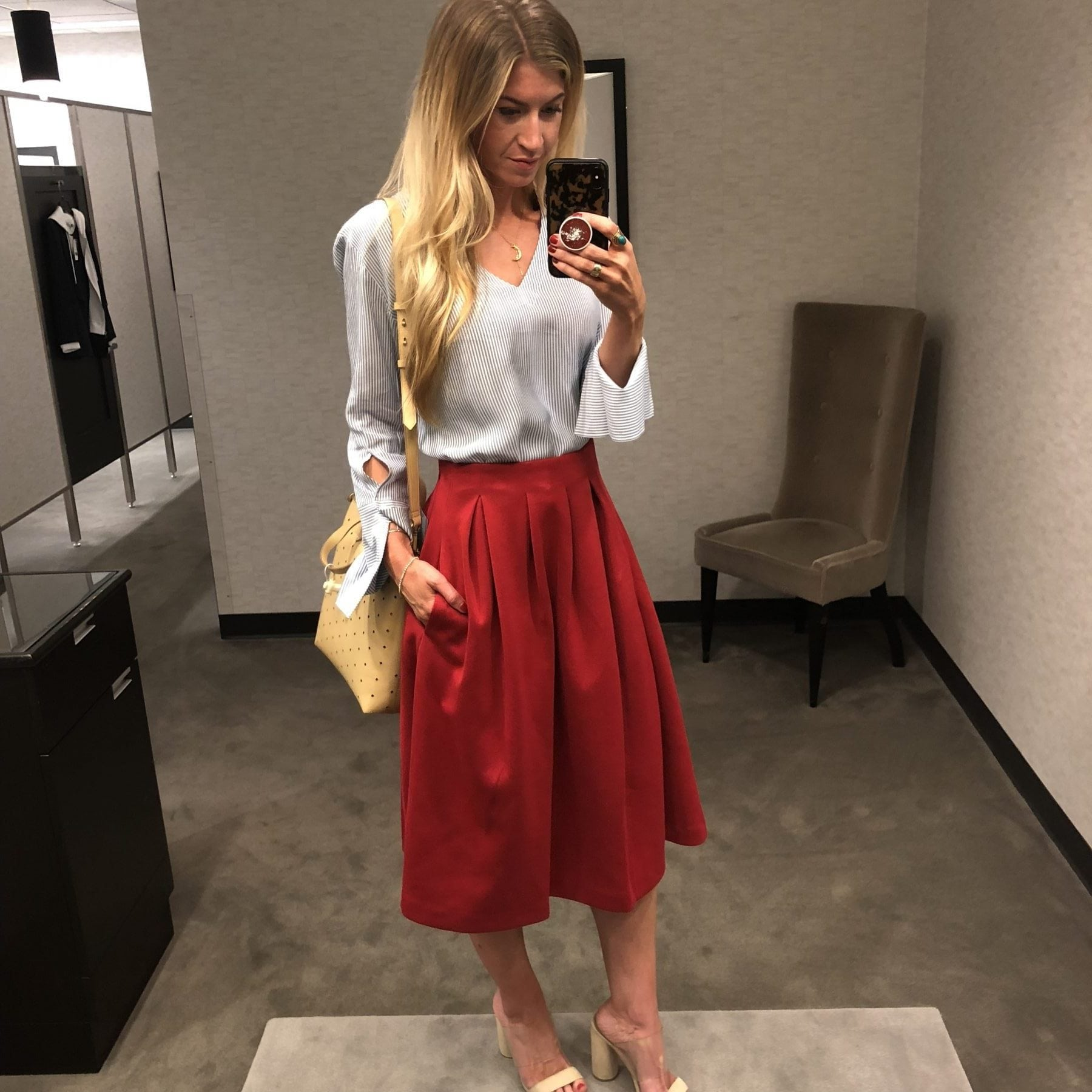 Nordstrom Anniversary Sale Outfits: Red Pleated Skirt