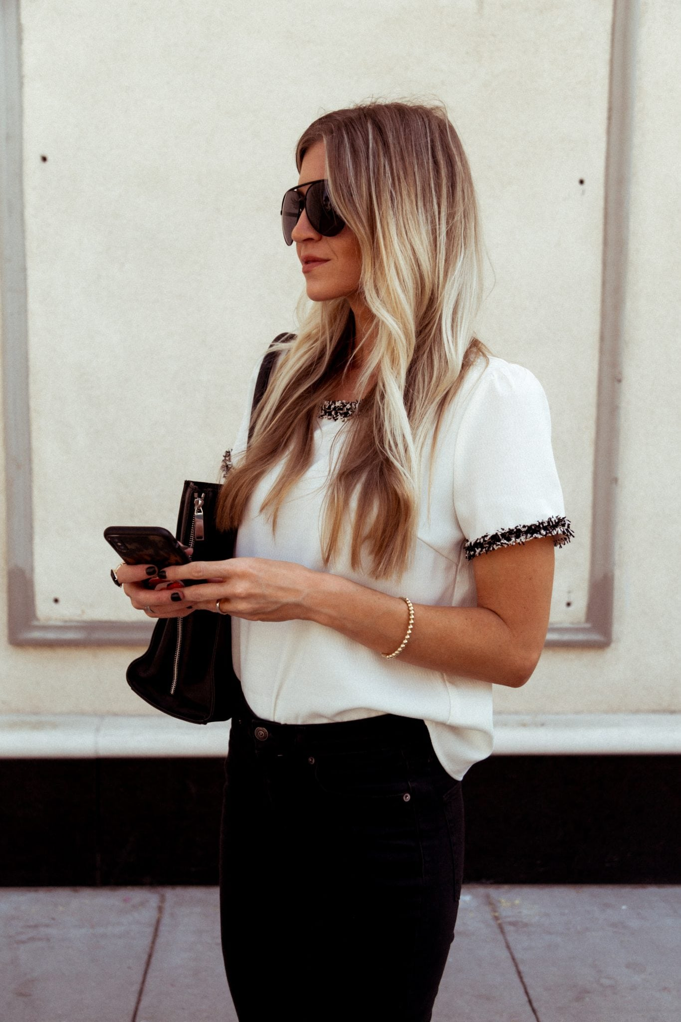 White chanel inspired blouse - Elle Apparel Blog