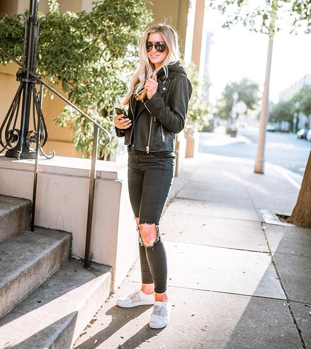 BLACK HOODED MOTO JACKET  ||  BLACK DISTRESSED JEANS  ||  WHITE SNEAKERS