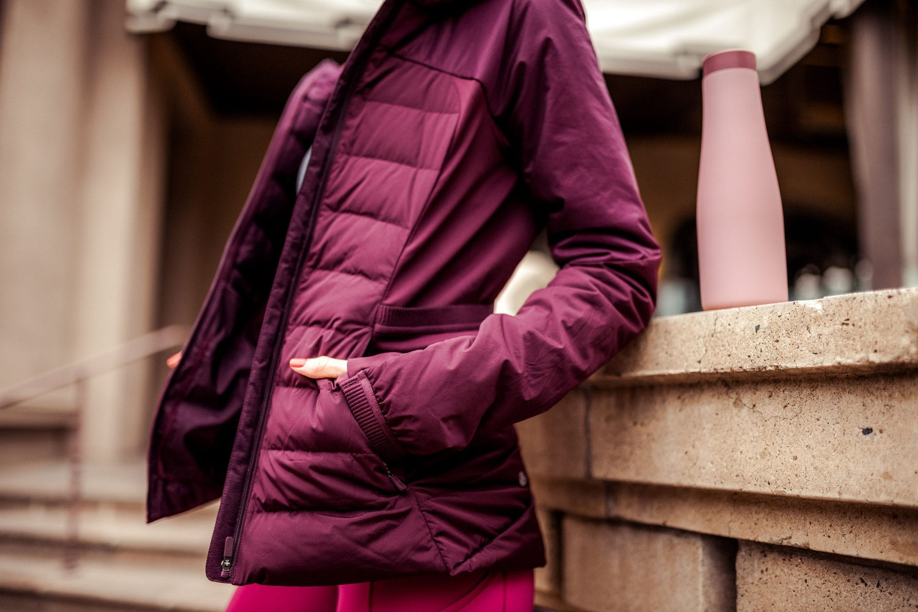 MAROON DOWN JACKET (one of the most brilliantly made jackets I've ever owned)  ||  WATER BOTTLE