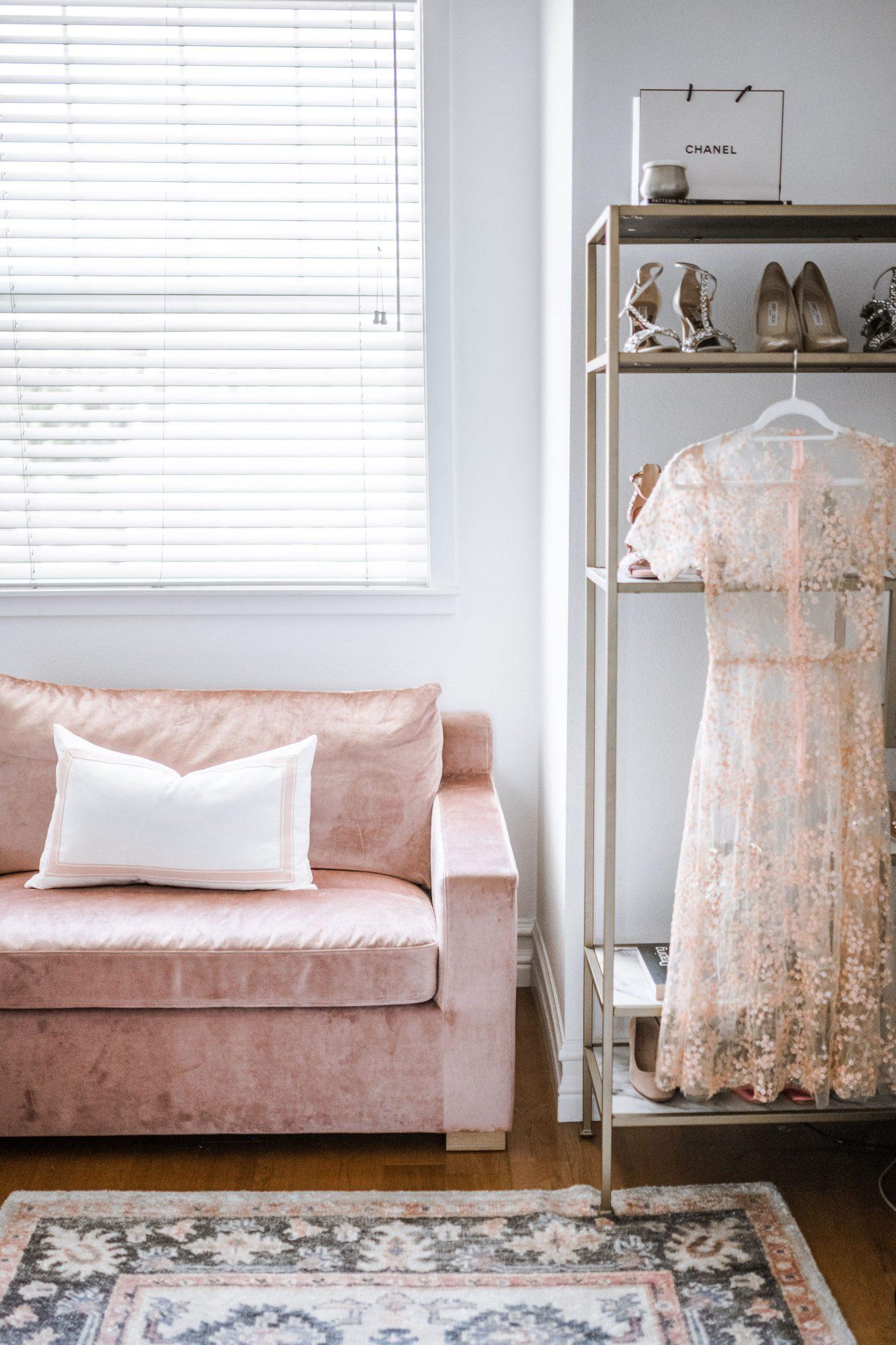 Blush Velvet Modern Sleeper Sofa from Interior Define