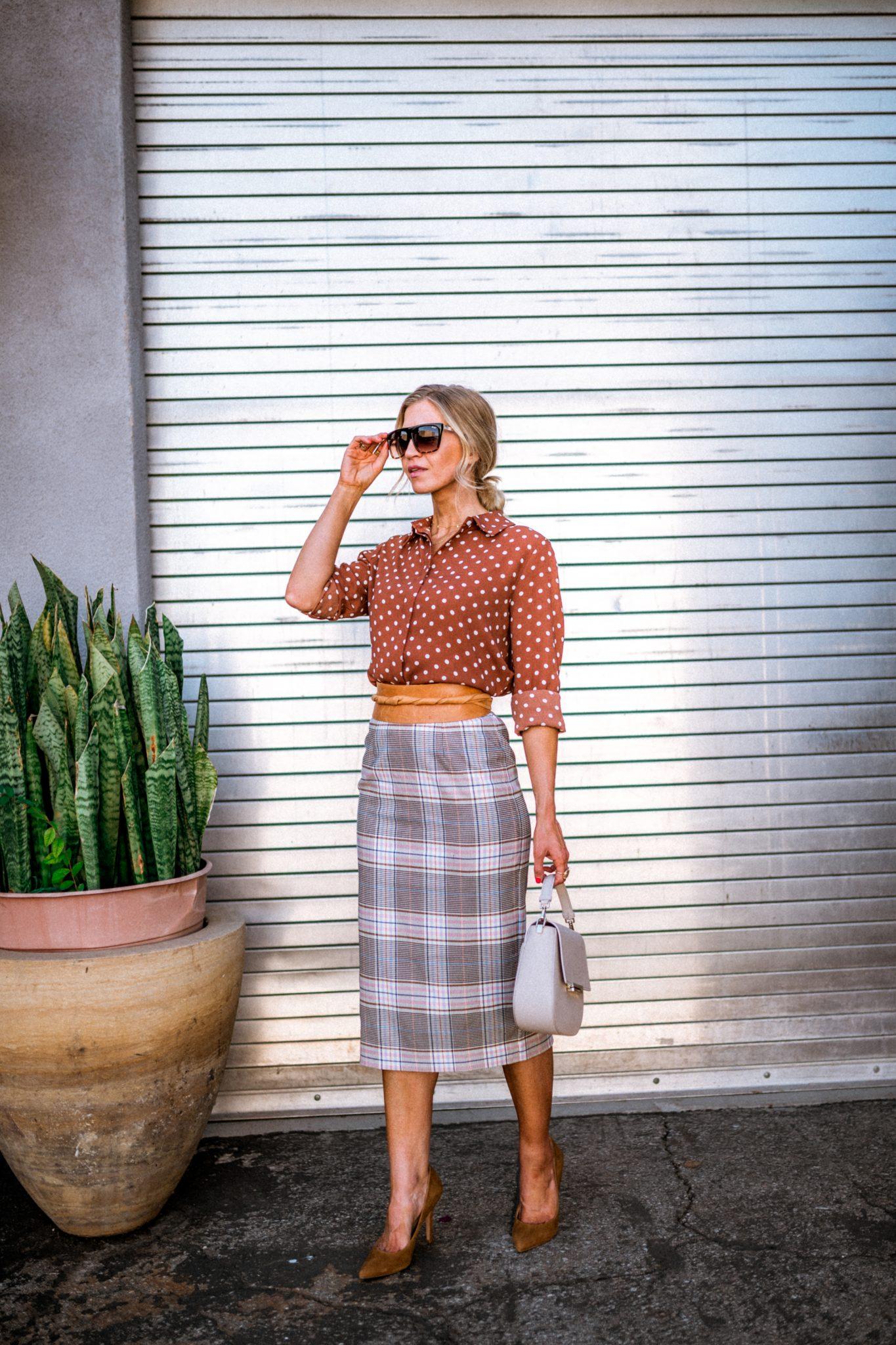 Plaid pencil skirt + polka dot top
