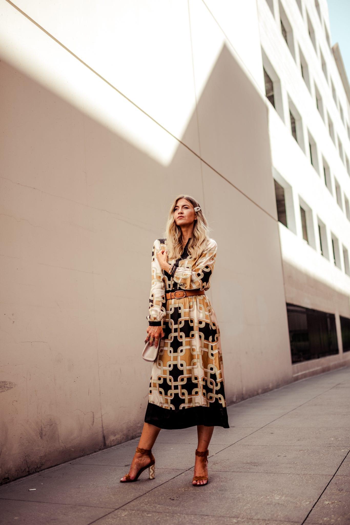Black and gold geometric print dress for fall.