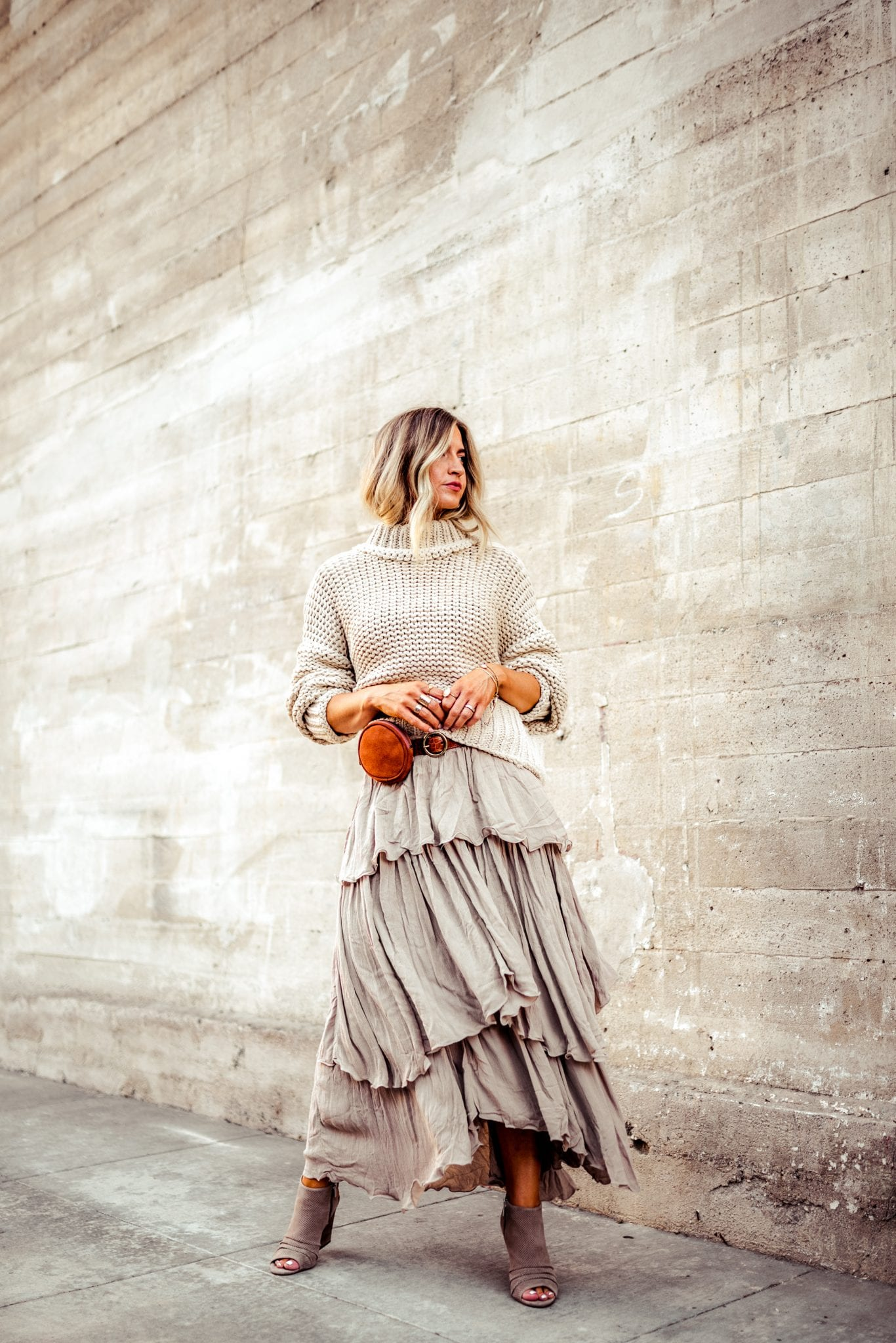 Chunky Free People sweater + layered maxi skirt for fall.