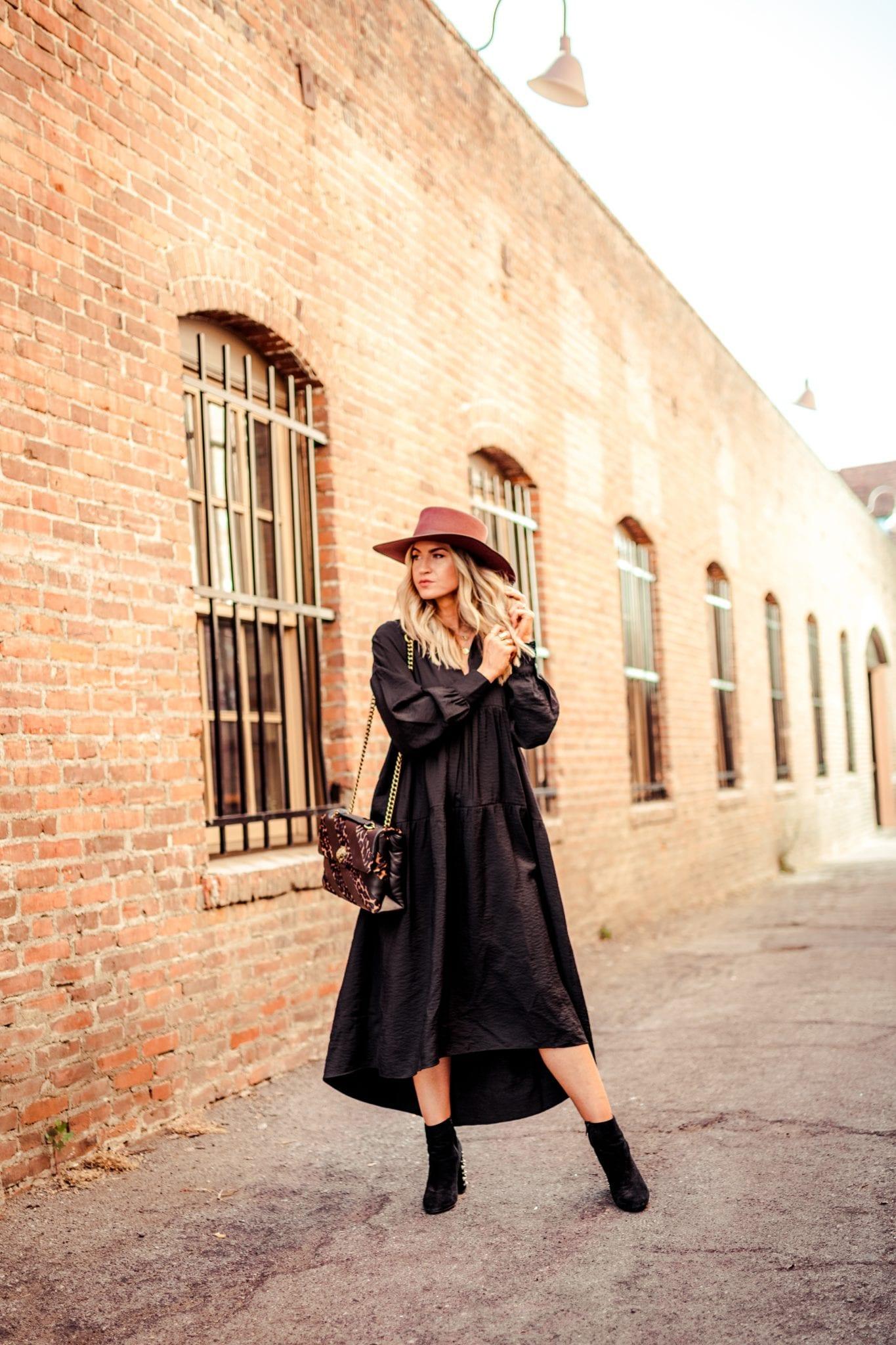 Black maxi dress + brown wool hat